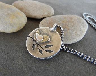 Sale-Rustic OOAK Sterling Silver-Brass-Artisan Jewelry-Bird on Branch-Pendant.