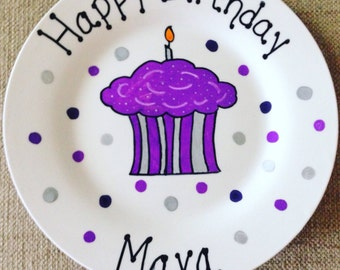 Happy Birthday Plate - Personalized Plate for kids - Hand Painted Ceramic Plate, Gift Plate, Birthday Gift for Girl, Hostess Gift