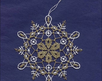 Germany Woven Cotton Thread Christmas White & Gold Snowflake Ornament For Crafting  LHS029