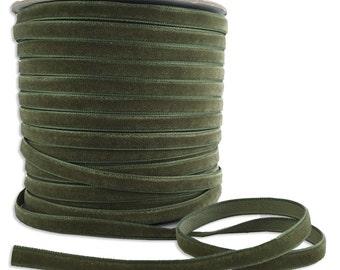 Three Yards Velvet Ribbon Trim Sage Green  1/4 Inch Wide VR200-SGR