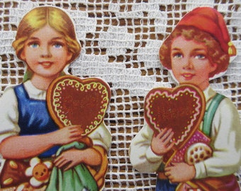 German Lebkuchen Boy And Girl Vintage England Paper Lithographed Die Cut Scraps