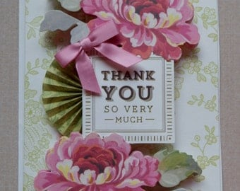 Handmade Thank You Card Made with Anna Griffin Design and Supplies Rosette Ribbon Flowers