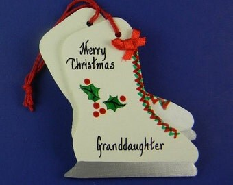 0011 Skates. Free shipping. Message shown is a suggestion. Ornaments can be written with a message/name/date of your choice.