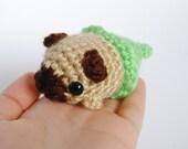 Amigurumi Crochet Merpug Plushie - Mini Fat Crochet Sea Dog Mermaid Plush - Bright Green Tail - Made to Order