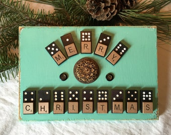 Merry Christmas Sign on green reclaimed wood with scrabble tiles, brooch and vintage dominoes cottage decor sign