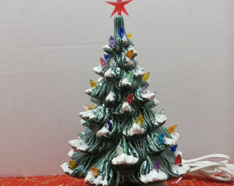 Green Glazed Ceramic Christmas Tree 9 1/2  inch version
