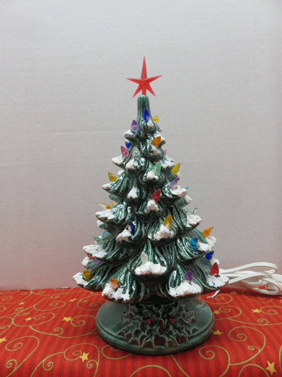 Green Ceramic Christmas Tree With Lights