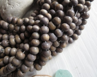 grey round wood beads , painted  finished wood , small round wooden bead, exotic natural material Indonesian 50 beads  5A22-5