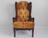 gold velvet HOLLYWOOD regency vintage cane wing back chair
