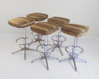 20% SALE 5 mid century modern LEOPARD print & CHROME swivel bar stools