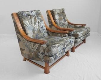 2 tropical print MID CENTURY modern oak wood lounge chairs