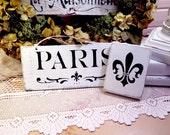 2 Shabby Paris Script & Fleur de Lis French Inspired Wood Signs