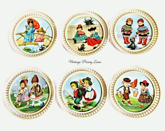 Vintage Plastic Coasters, International Children Illustrations