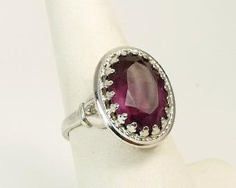 Vintage Danecraft Amethyst Ring Sterling Silver Adjustable Ring