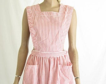 Vintage 60's Candy Stripe Volunteer Pinafore Dress. Size X Small