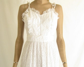 Vintage 70's Candy Jones. White Lace Boho Corset Maxi Dress. Size X Small