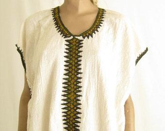 Vintage 70's Gauze Cotton India Caftan Maxi Dress. Size Large