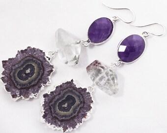 Rare Amethyst Stalactite Slice Amethyst Statement Earrings February Birthstone Lodolite Gemstone Earrings ST-E-115-021s