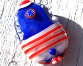 Lampwork Focal Bead - red, white, blue - Battle of Fort Ticonderoga - SRA AutEvDesigns, ISGB