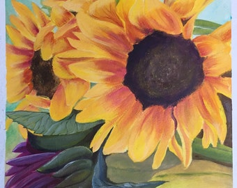 Sunflowers Original acrylic Painting on 140 lb premium watercolor paper 11x14.