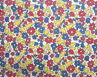 Cotton Fabric,  1 Yard Feed Sack Look Cotton  Fabric, Quilts, Sewing, Polka Dot Flowers in Red, Yellow, Blue, Primary Colors, Kitchen Cotton