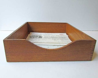 Antique 1920 Vintage Oak Office Desk Top In, Out Paper and Files Box for Your Vintage Office, Oak Desk Papers Box or Tray, Desk Top Box
