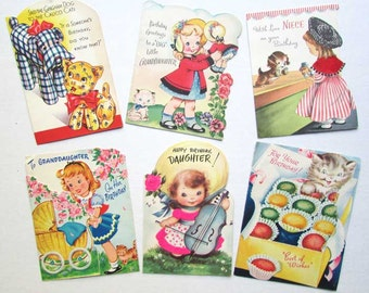 Lot of 6 Vintage 1950 Child's Birthday Cards for Girls, Children Activities, Scrapbooking,  Vintage Supplies, Collector Cards, Girls, Cat