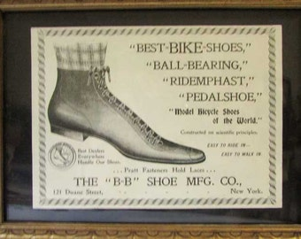 Antique 1890's Original B-B Shoe Co, NY,  Small Framed Best Bike Shoes Advertising Illustration, Print, Bicycle Shoe Image, Black and White