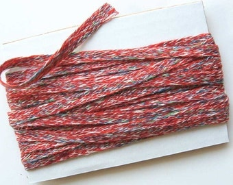Vintage Heathery Red, Blue, Green Yarn Trim, Ribbon, Gift Tie, 3 Yard Length of  Old Textile Mill Stock Trim from the 1980's