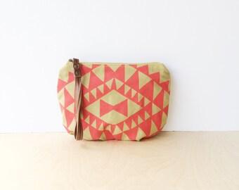 wristlet clutch • wrist strap • hot pink - mustard - hand screenprinted geometric print - zipper pouch • vukani