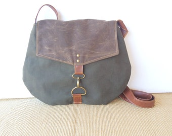 satchel • waxed canvas crossbody bag • industrial dark olive canvas - dark brown waxed canvas - travel bag - cross body • scout