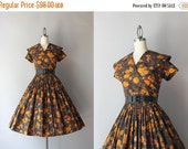 STOREWIDE SALE 50s Dress / Vintage 1950s Dark Floral Dress / 50s Faux Wrap Shawl Collar Pleated Cotton Day Dress