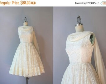 STOREWIDE SALE 1960s Lace Party Dress / Vintage 60s Chiffon Drape Dress / 1950s Lace Dress