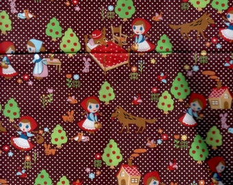 65cm Japanese Cotton Fabric Red Riding Hood Polka Dots Tales Brown