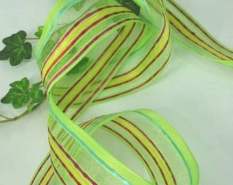 """Lime Green Yellow Citrus Pink Sheer Stripe wired riboon 1 1/2"""" 10 yards"""