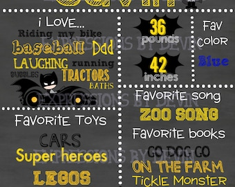 Super Bat custom ( Any age ) Birthday Chalkboard sign printable file ( Choose size 8x10, 11x14 or a 16x20