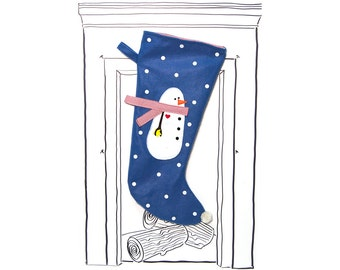 "Christmas Stocking Blue Snowman with Polka Dots, 23"" x 11"",  Fully Lined, Handmade, Eco Fi Felt"