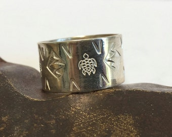 Sterling Silver Hand Stamped Ring - Turtles  - Wide Band  -  Made to Order