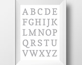 Alphabet Print, Digital Wall Art, Printable Art, Nursery Art, Nursery Print, Digital Print