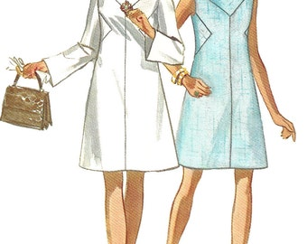 1970s Dress Pattern Mod A Line Vintage Butterick Sewing Women's Misses Size 12 Bust 34 Inches