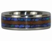 Australian Black Opal and Dark Koa Wood Inlay Titanium Ring Band Made in Hawaii
