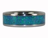 Blue Lab Peacock Opal Titanium Ring Band