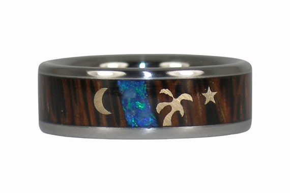 Gold Palm Tree Star and Moon with Palmwood and Opal Ring
