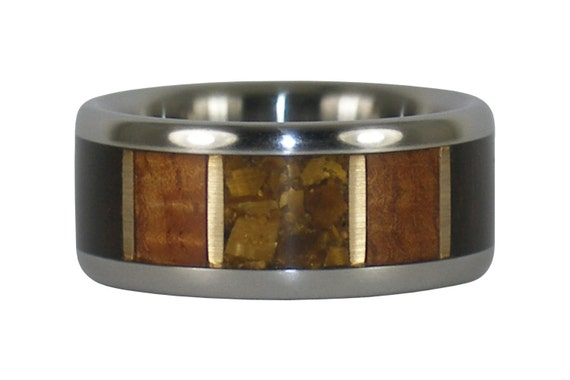 Gold Tigers Eye Ring with Wood Inlay