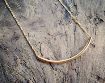 Minimalist Modern gold tube necklace on delicate gold chain