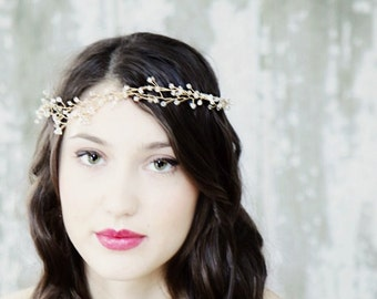 Ethereal Gold Crystal Wedding Accessory Hair Vine, Head Band, Hair Fascinator