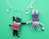 Cat and rabbit trapeze necklace - circus animal jewelry, acrobat cat and rabbit