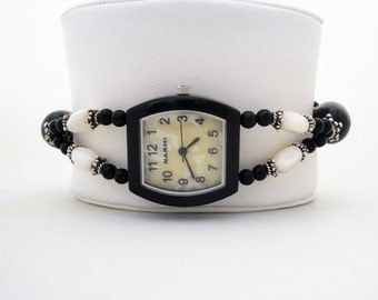 Mother of Pearl Watch Bracelet Black & White Black Agate Birthday Anniversary Gift for Her