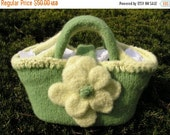 Felted Green and Yellow Tote with Large Felted Flower..... from Designs by Fredericka