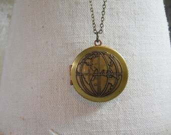 Double Sided World Map Global Locket on Brass Beaded Chain It's a Small World One World Globe Travel Memories